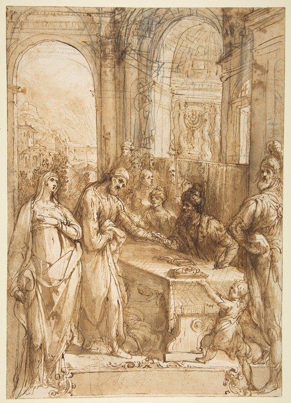 Giovanni de' Vecchi - Esther and Mordecai before King Ahasuerus (Esther 8;1- 12)