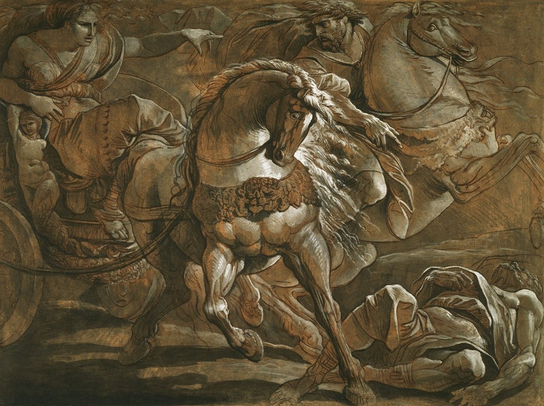 Giuseppe Cades - Tullia about to Ride over the Body of Her Father in Her Chariot