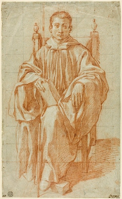 Bartolomeo Cesi - Seated Youth Wearing a Monk's Habit; Study for Saint Benedict