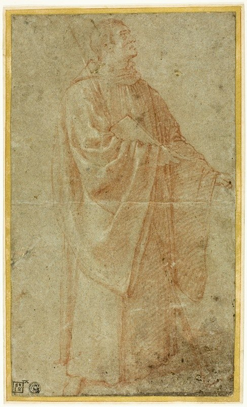 Bartolomeo Cesi - Standing Monk Holding a Book and Staff