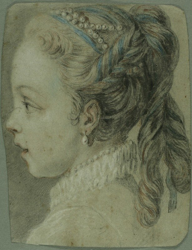 Charles-André van Loo - Study; Head of a Young Girl Facing to the Left