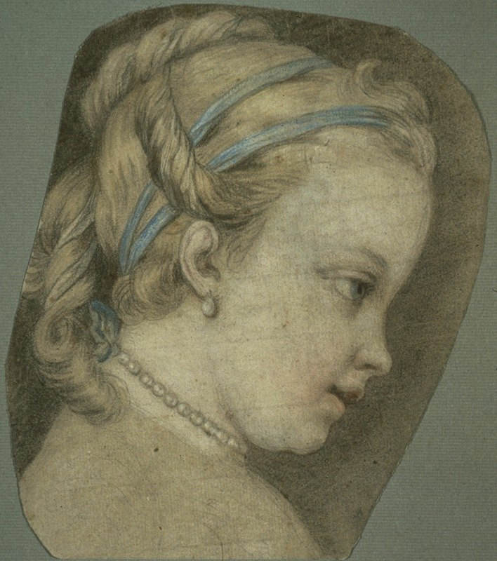 Charles-André van Loo - Young Girl Facing to the Right