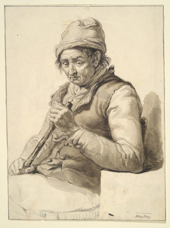 Abraham Van Strij - Seated Man withStick