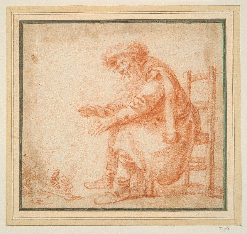 Pieter Jansz. Quast - Old Man Warming his Hands at aFire