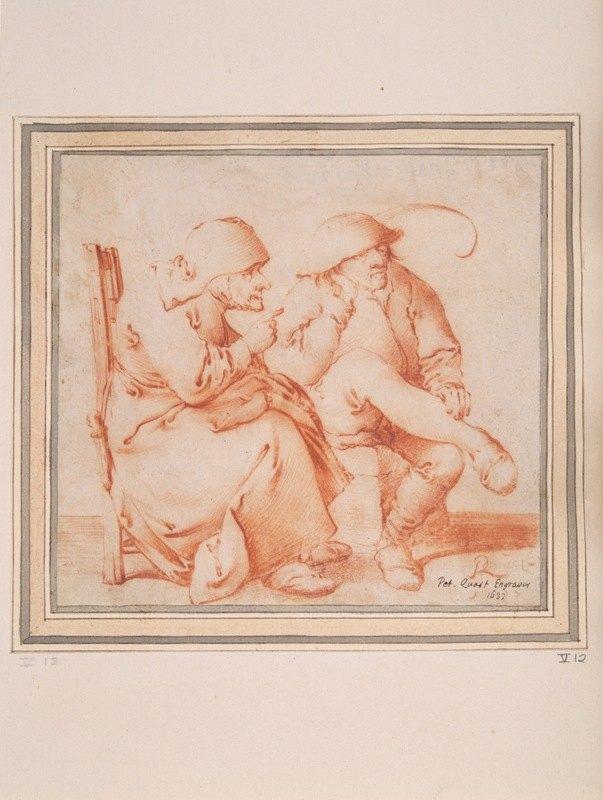 Pieter Jansz. Quast - Old Peasant CoupleSeated