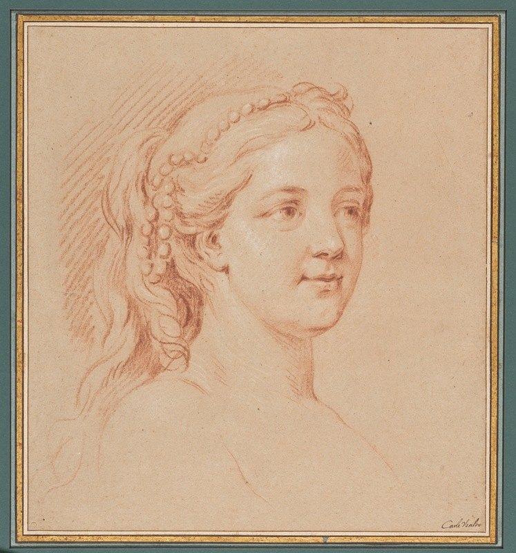 Charles-André van Loo - Tête de femme de trois quarts à droite