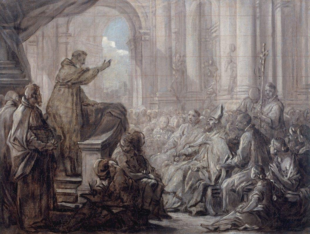 Charles-André van Loo - La prédication de saint Augustin devant Valère
