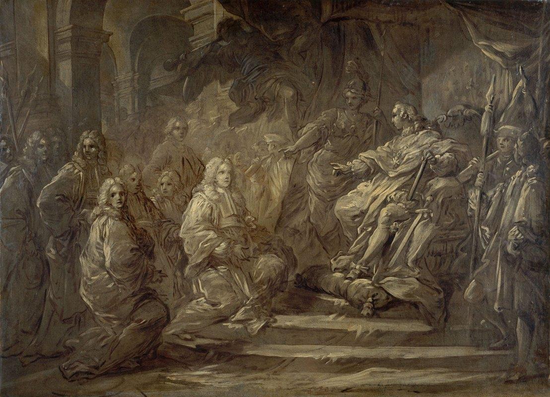 Charles-André van Loo - Louis XV recevant le corps de la Ville à l'occasion de la publication de la paix de 1739