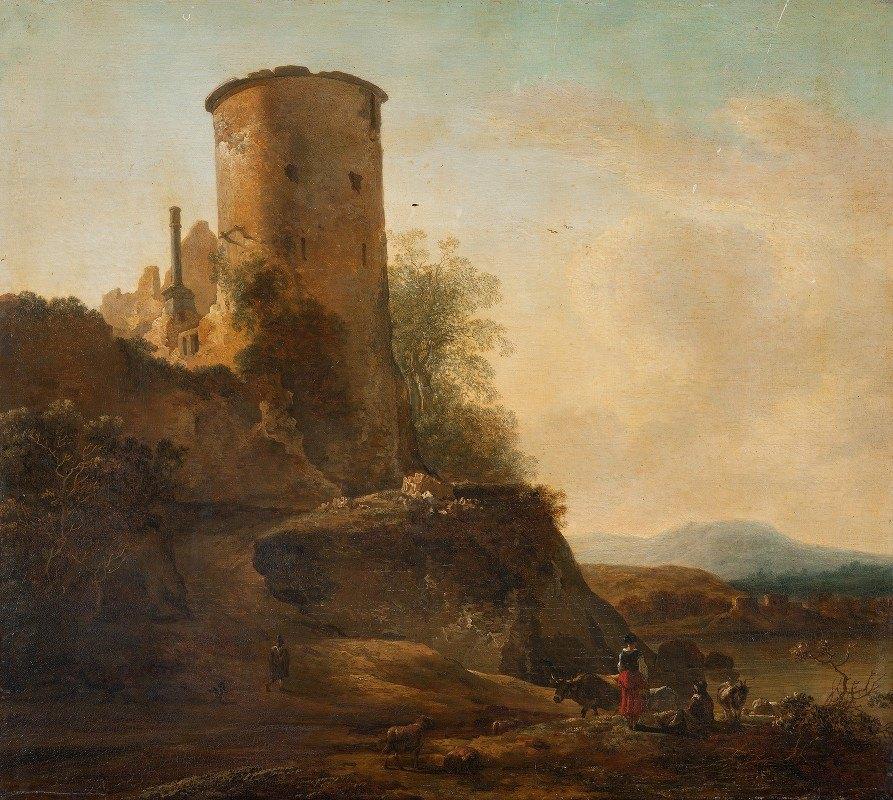Adam Pynacker - Italienskt berglandskap med borgruin, djur och figurer