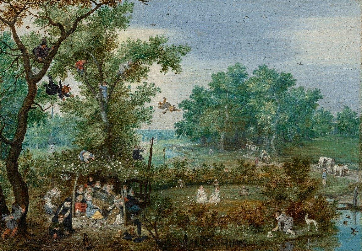 Adriaen Pietersz. Van De Venne - Merry Company in an Arbor