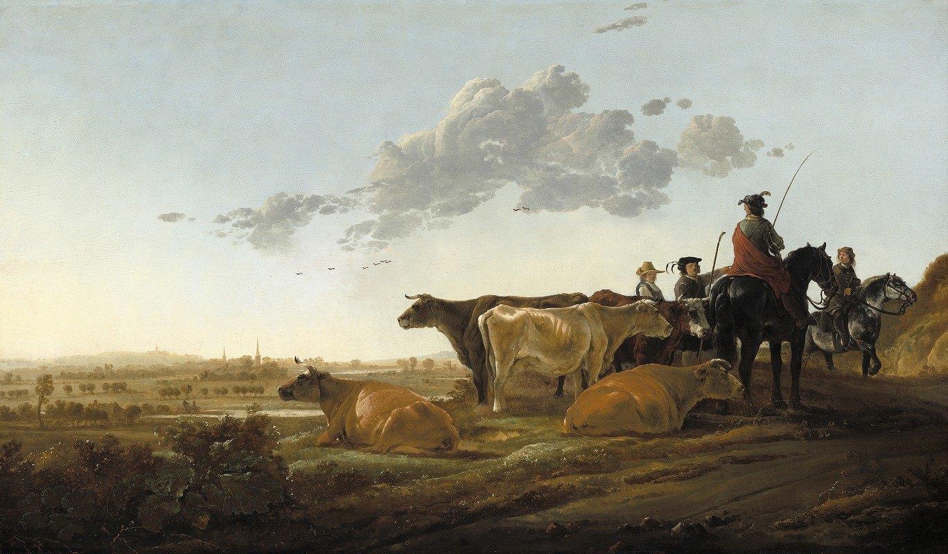 Aelbert Cuyp - Landscape with Herdsmen