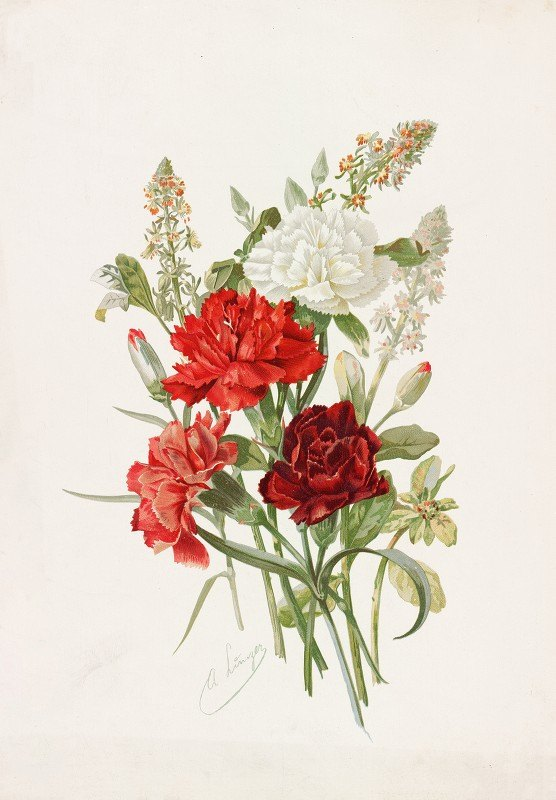 Alois Lunzer - Carnations and Mignonette