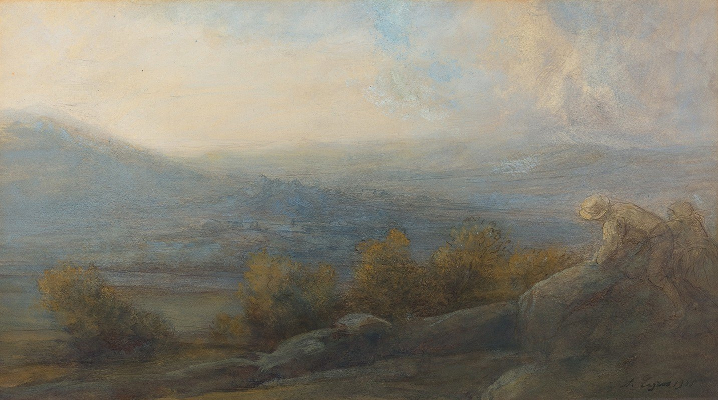 Alphonse Legros - Mountain Landscape with two Figures at the Right