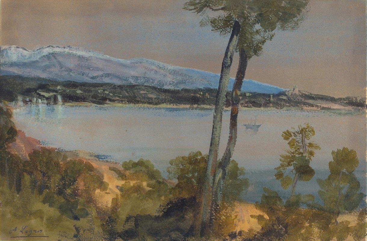 Alphonse Legros - Mountains Seen beyond a Lake