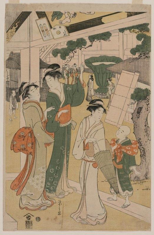 Chōbunsai Eishi - Women Visiting a Tea Stall on the Precincts of a Temple