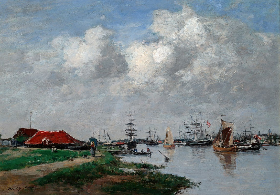 Eugène Boudin - The Escaut River inAntwerp