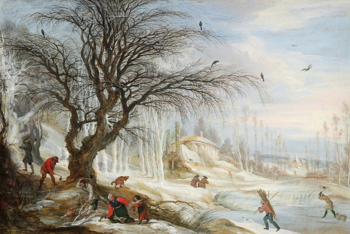 Gijsbrecht Leytens - Winter Landscape with Wood Gatherers