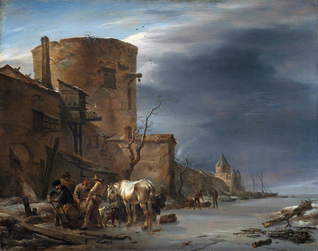 Nicolaes Pietersz. Berchem - The City Wall of Haarlem in the Winter