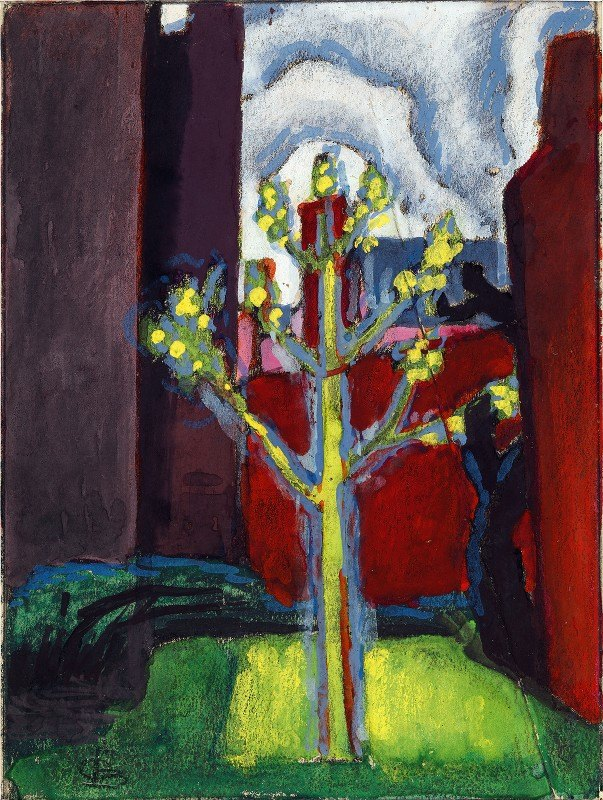 Oscar Bluemner - Young Tree in Red Courtyard