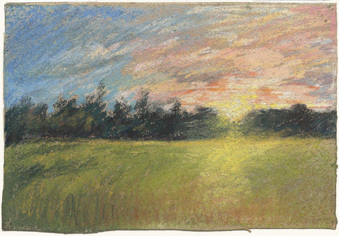 Paul Huet - A Meadow at Sunset