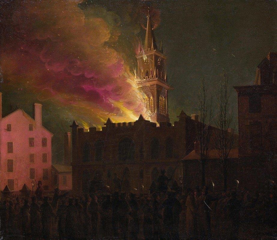Samuel Jones - Conflagration of the Masonic Hall, Chestnut Street, Philadelphia, Pennsylvania