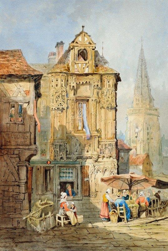 Samuel Prout - Marketplace at Bruges