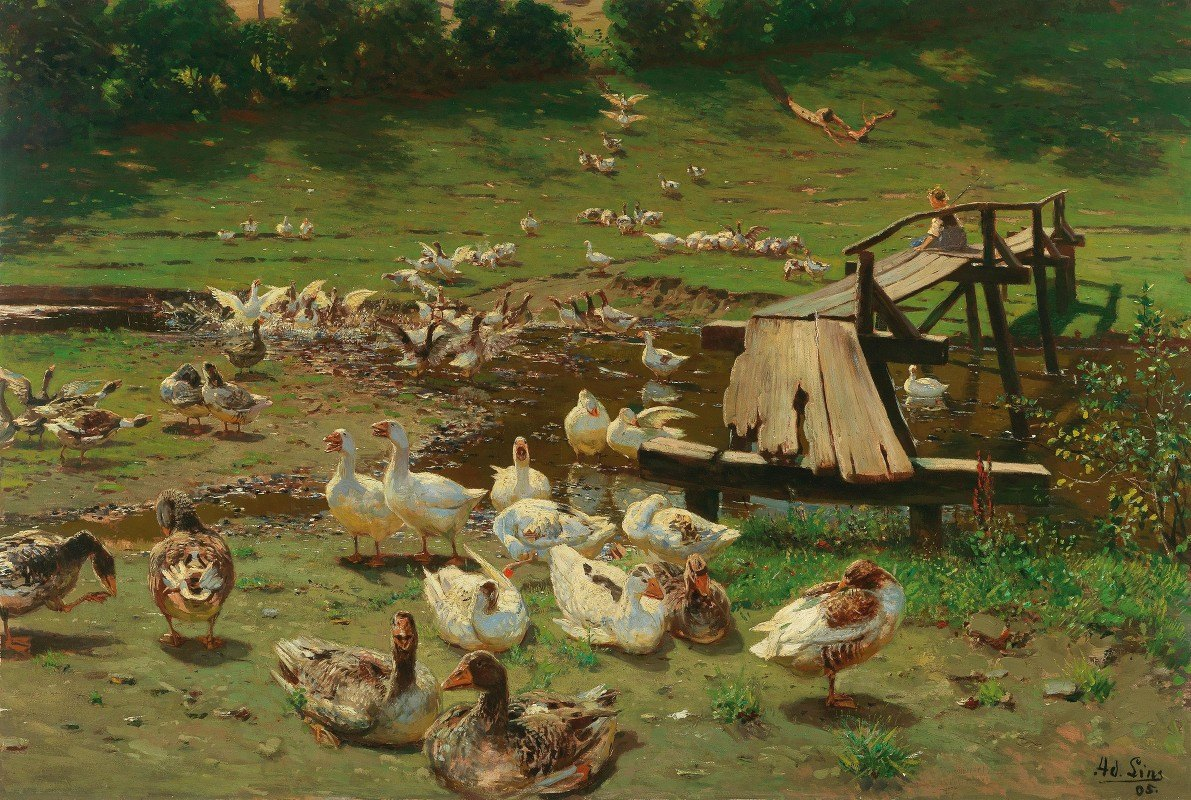 Adolf Lins - A Summer Day, Geese By A Pond