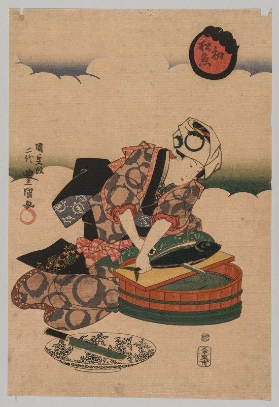 Utagawa Kunisada (Toyokuni III) - Preparing Bonita