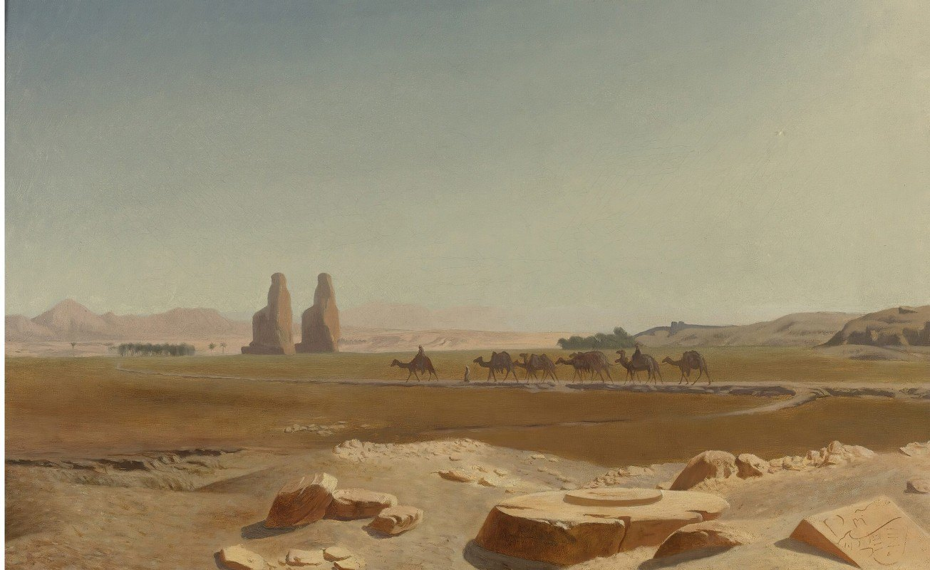 Jean-Léon Gérôme - Caravan Passing The Colossi Of Memnon, Thebes