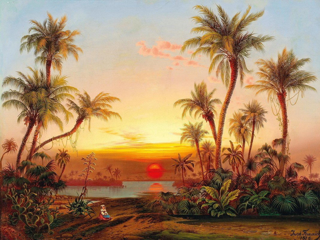 Joseph Firmenich - A Southern Landscape With Palms In The Evening Light