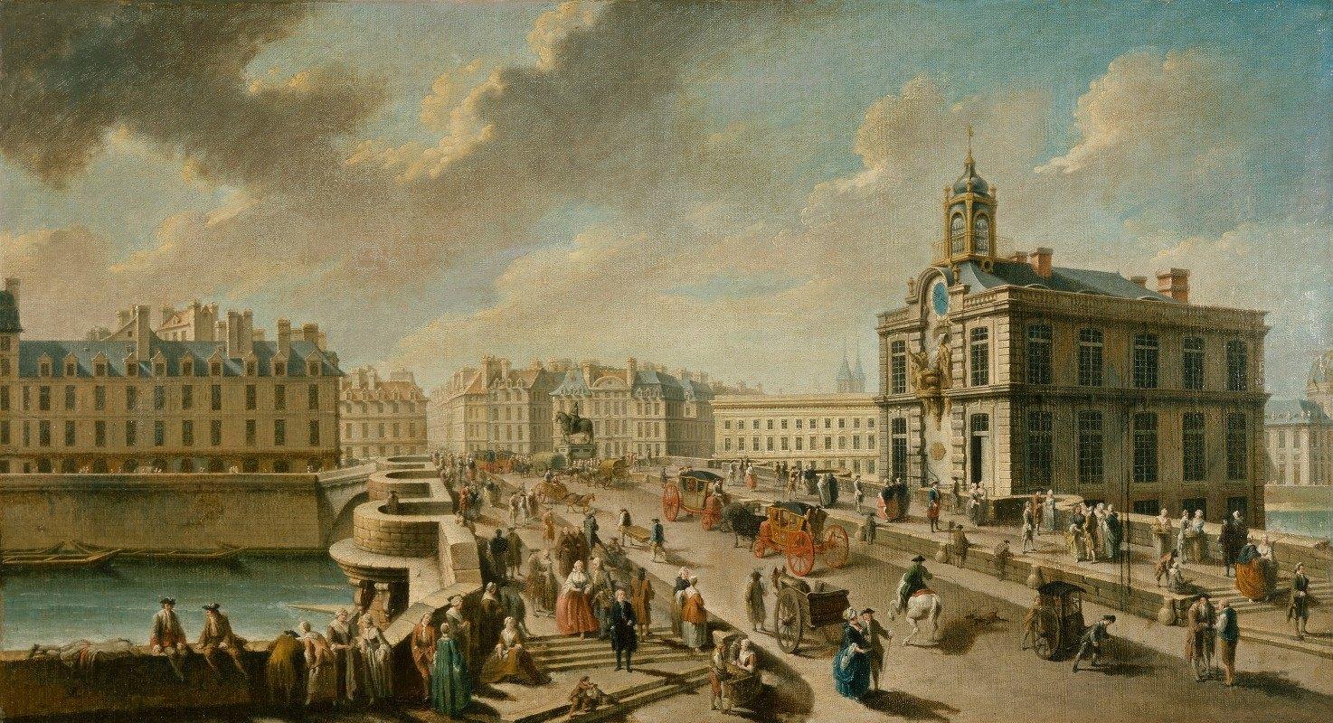 Nicolas Jean-Baptiste Raguenet - Le Pont-Neuf Et La Pompe De La Samaritaine, Vus Du Quai De La Mégisserie