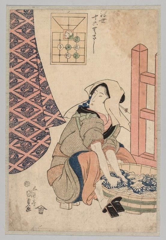 Utagawa Kunisada (Toyokuni III) - Seated Woman Washing Clothes in a Wooden Tub