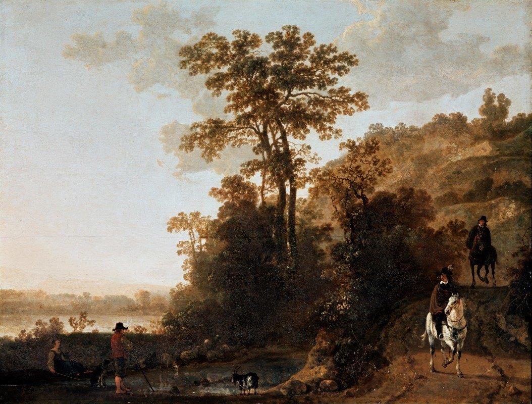 Aelbert Cuyp - An Evening Ride near a River