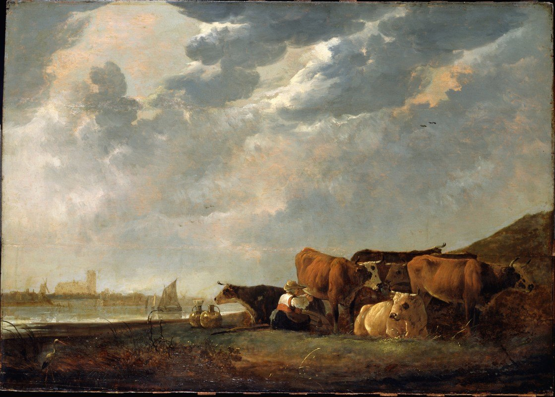 Aelbert Cuyp - Cattle near the Maas, with Dordrecht in the distance