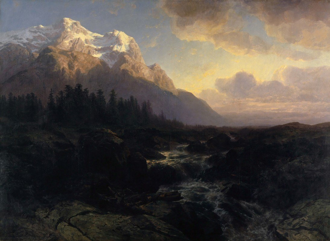Alexandre Calame - The Rosenlaui Valley with the Wetterhorn
