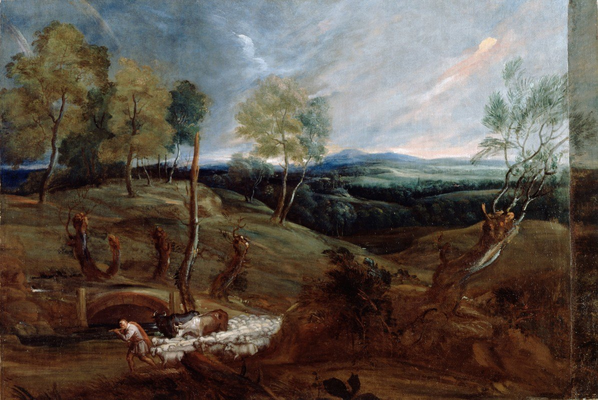 Anthony van Dyck - Sunset Landscape with a Shepherd and his Flock
