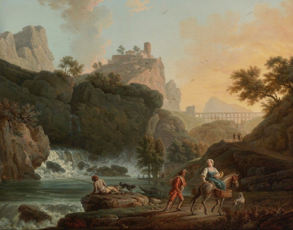 Claude-Joseph Vernet - A Rocky Landscape With Afisherman And Travellers By A River With A Waterfall, An Aqueduct In The Distance