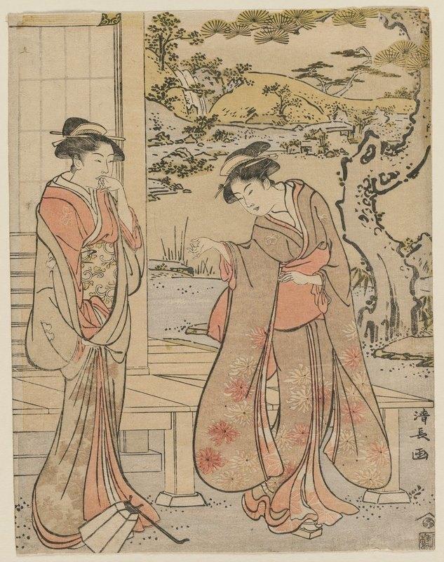 Torii Kiyonaga - Woman Dropping a Lantern by a Porch
