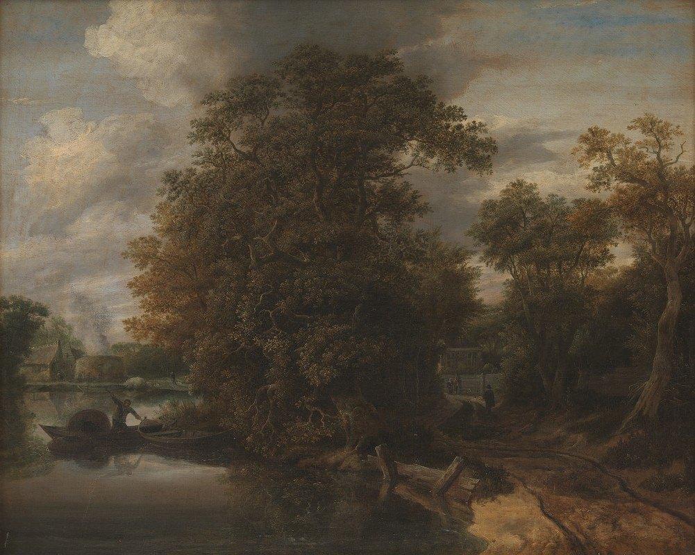 Cornelis Gerritsz Decker - Landscape by a River. In the Background a Limekiln