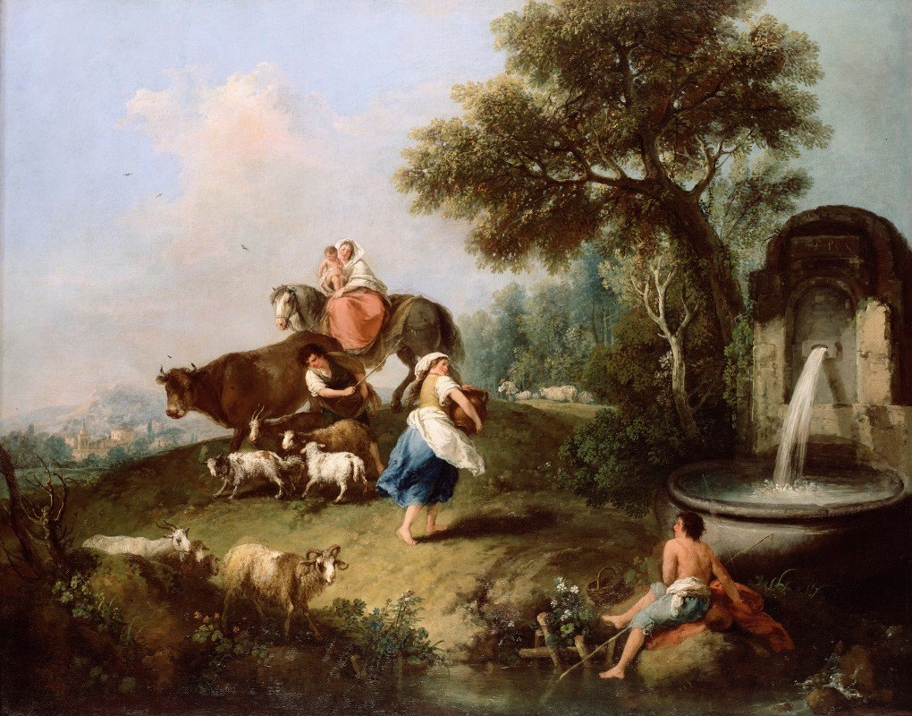 Francesco Zuccarelli - Landscape with a Fountain, Figures and Animals