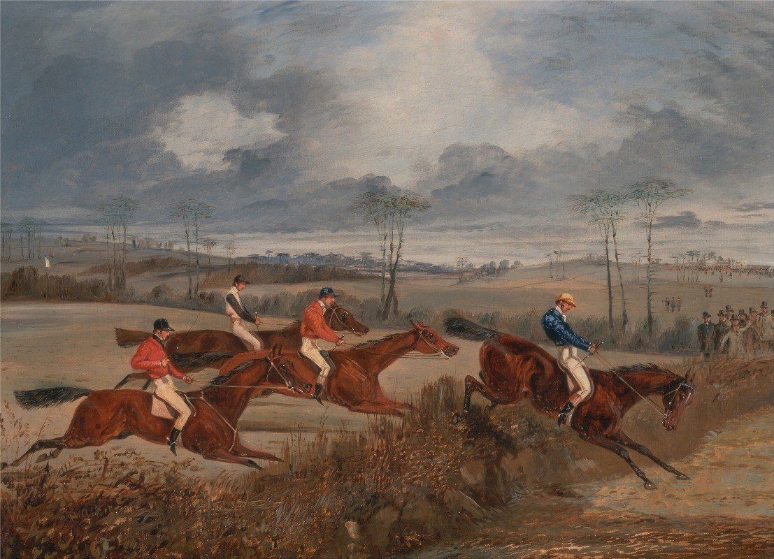 Henry Thomas Alken - Scenes from a steeplechase: Taking a Hedge