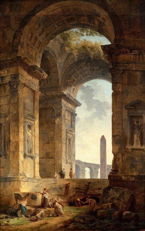 Hubert Robert - Ruins with an obelisk in the distance