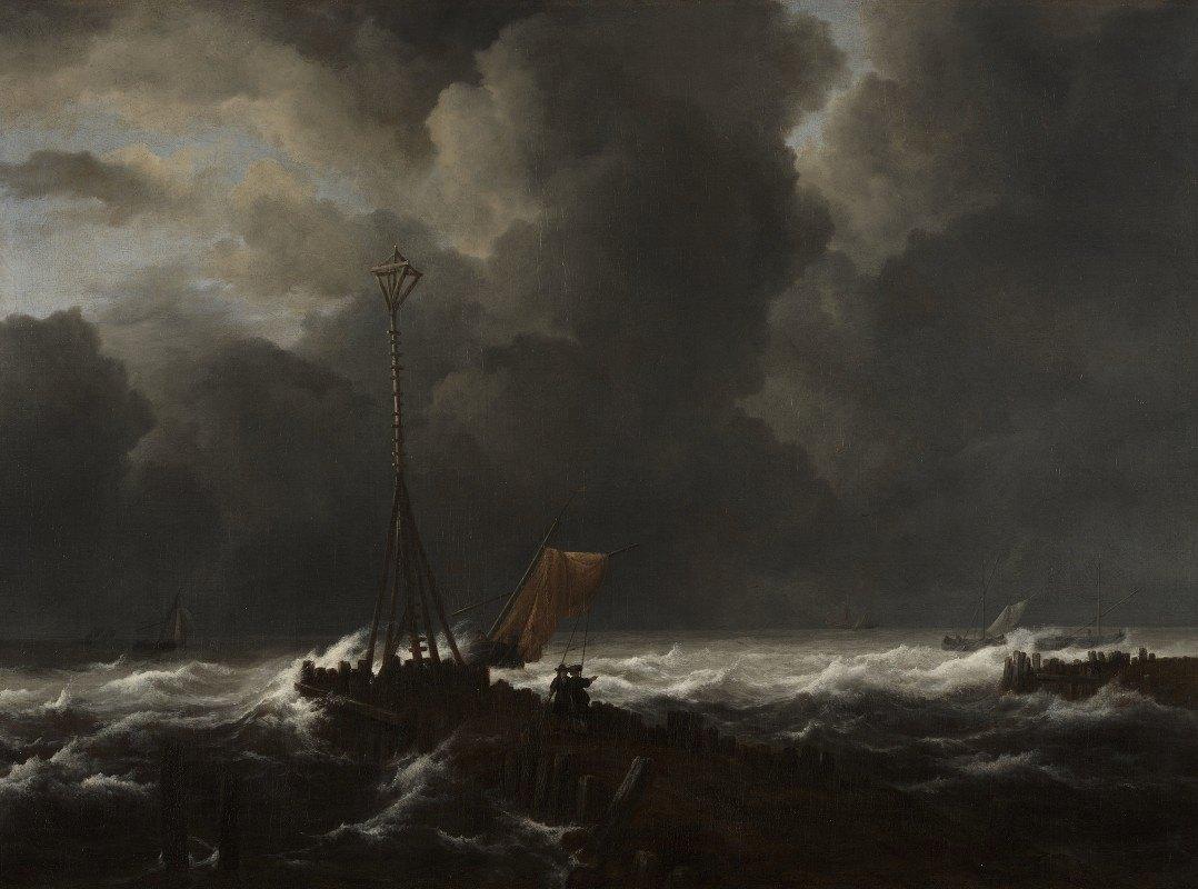 Jacob van Ruisdael - Rough Sea at a Jetty