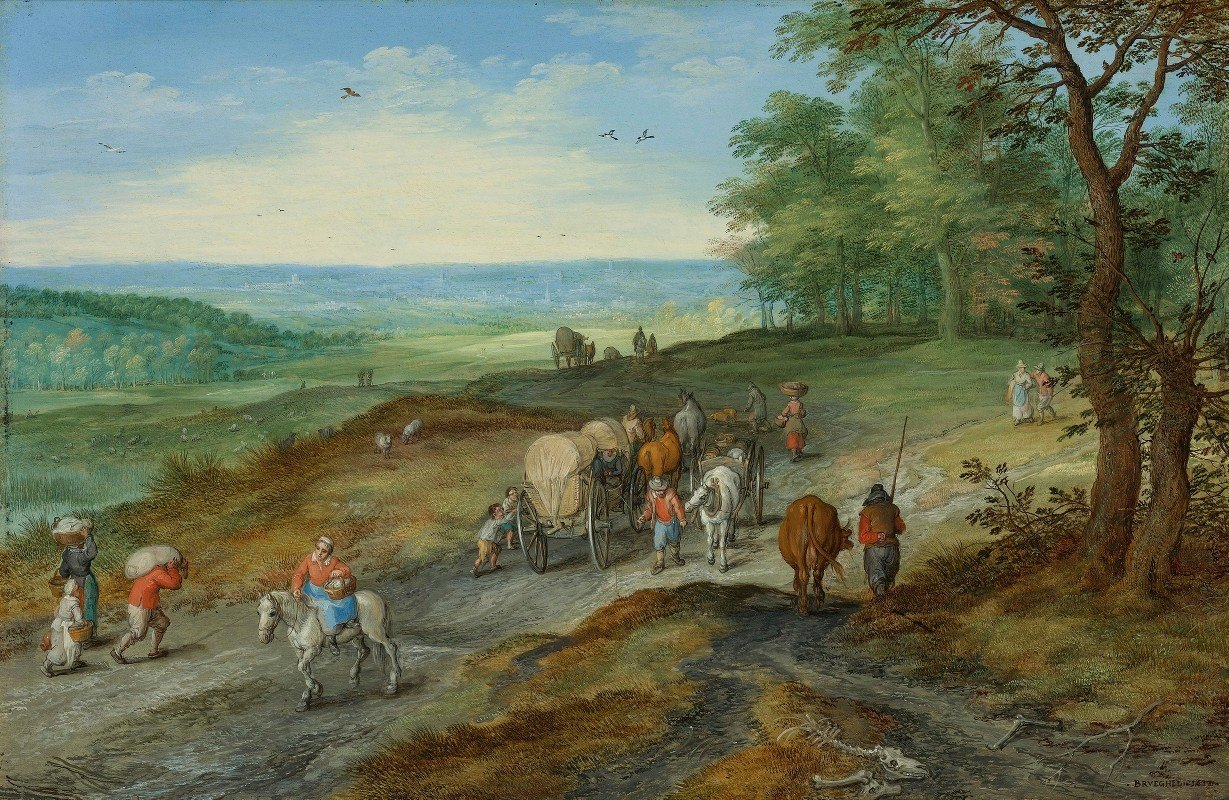 Jan Brueghel The Elder - A Panoramic Landscape With A Covered Wagon And Travelers On A Highway