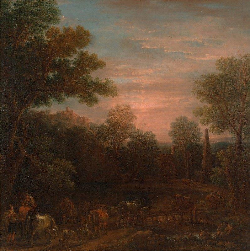 John Wootton - Classical Landscape: Evening