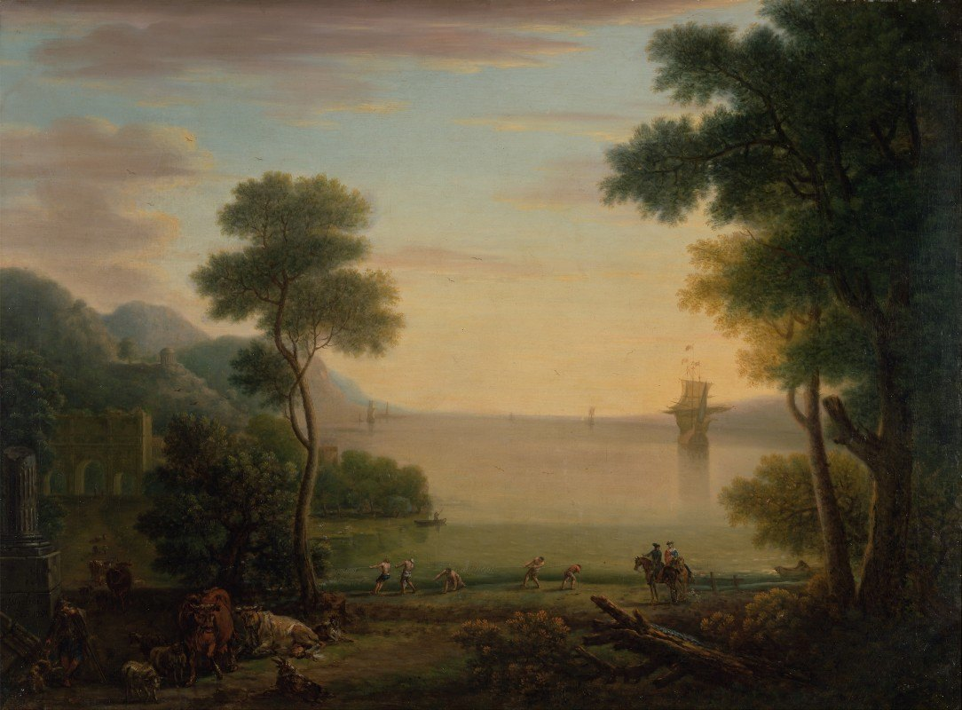 John Wootton - Classical Landscape with Figures and Animals; Sunset
