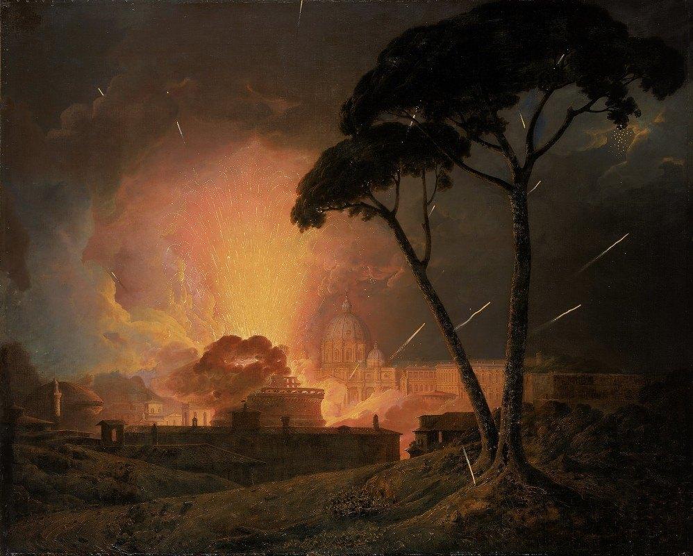 Joseph Wright of Derby - The Annual Girandola at the Castel Sant'Angelo, Rome