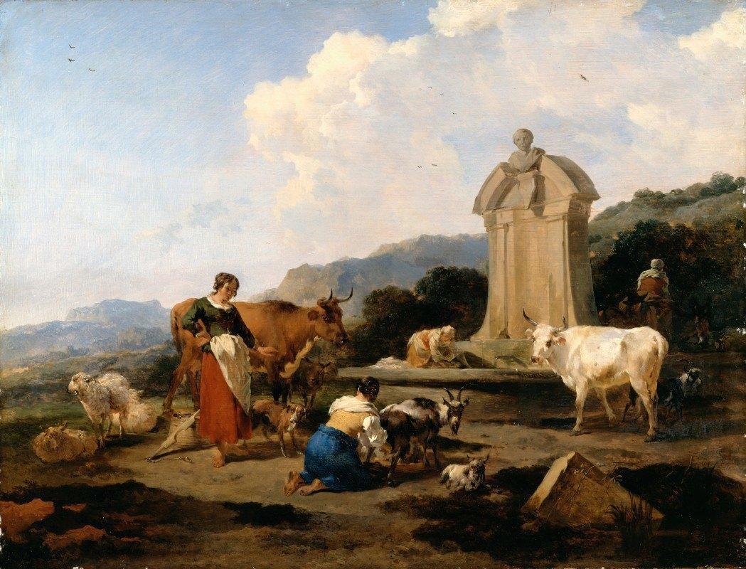 Nicolaes Pietersz. Berchem - Roman Fountain with Cattle and Figures (Le Midi)