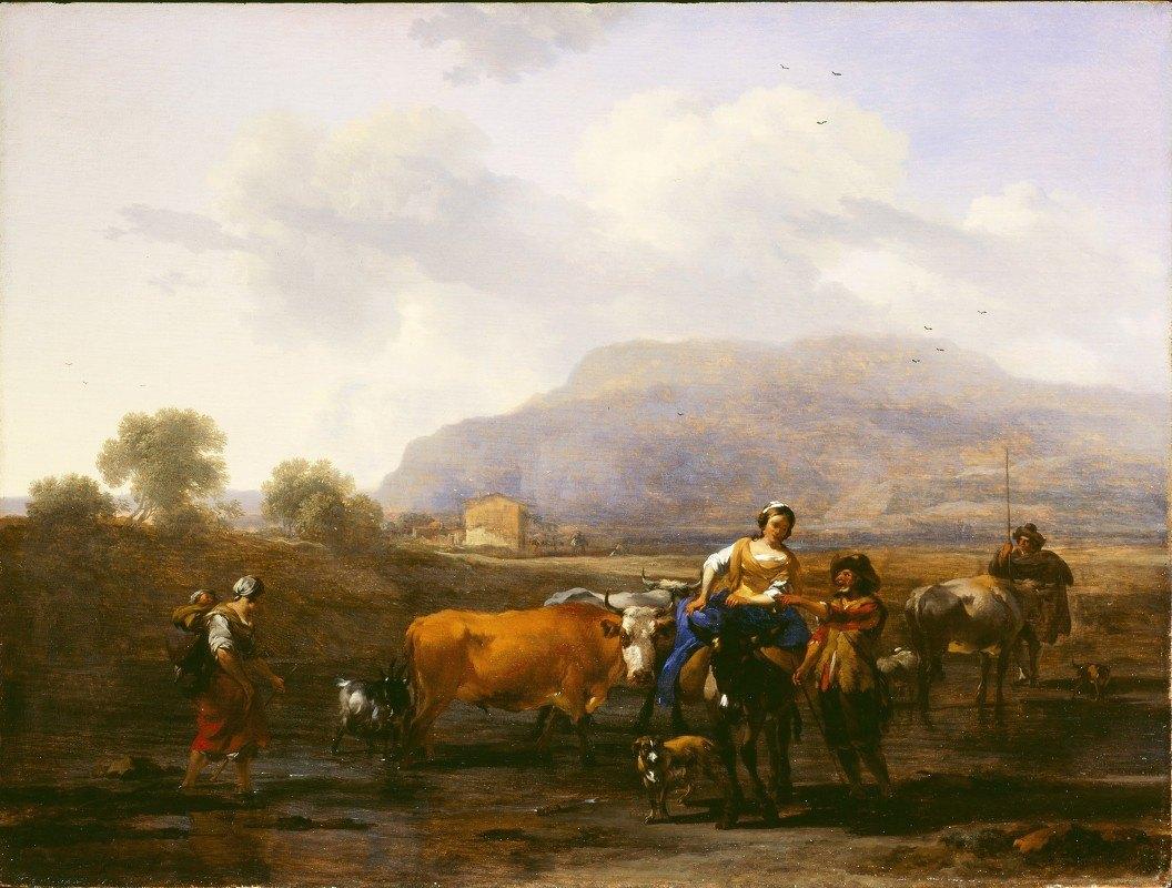 Nicolaes Pietersz. Berchem - Travelling Peasants (Le Soir)