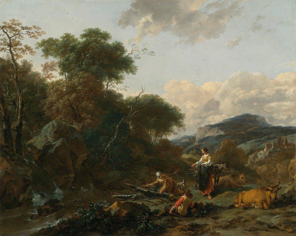 Nicolaes Pietersz. Berchem - A Landscape With Figures